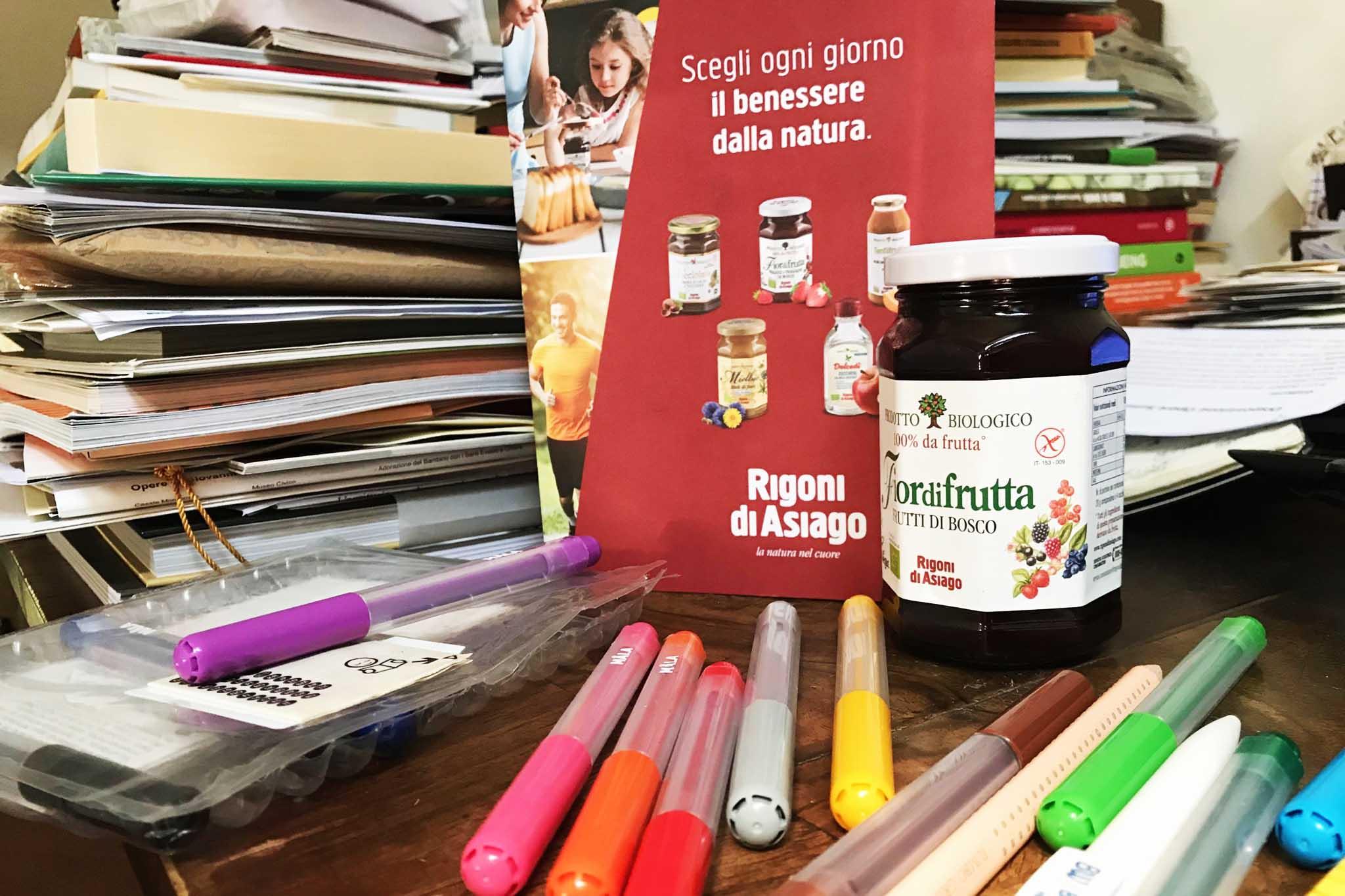 merenda Rigoni marmellata pennarelli
