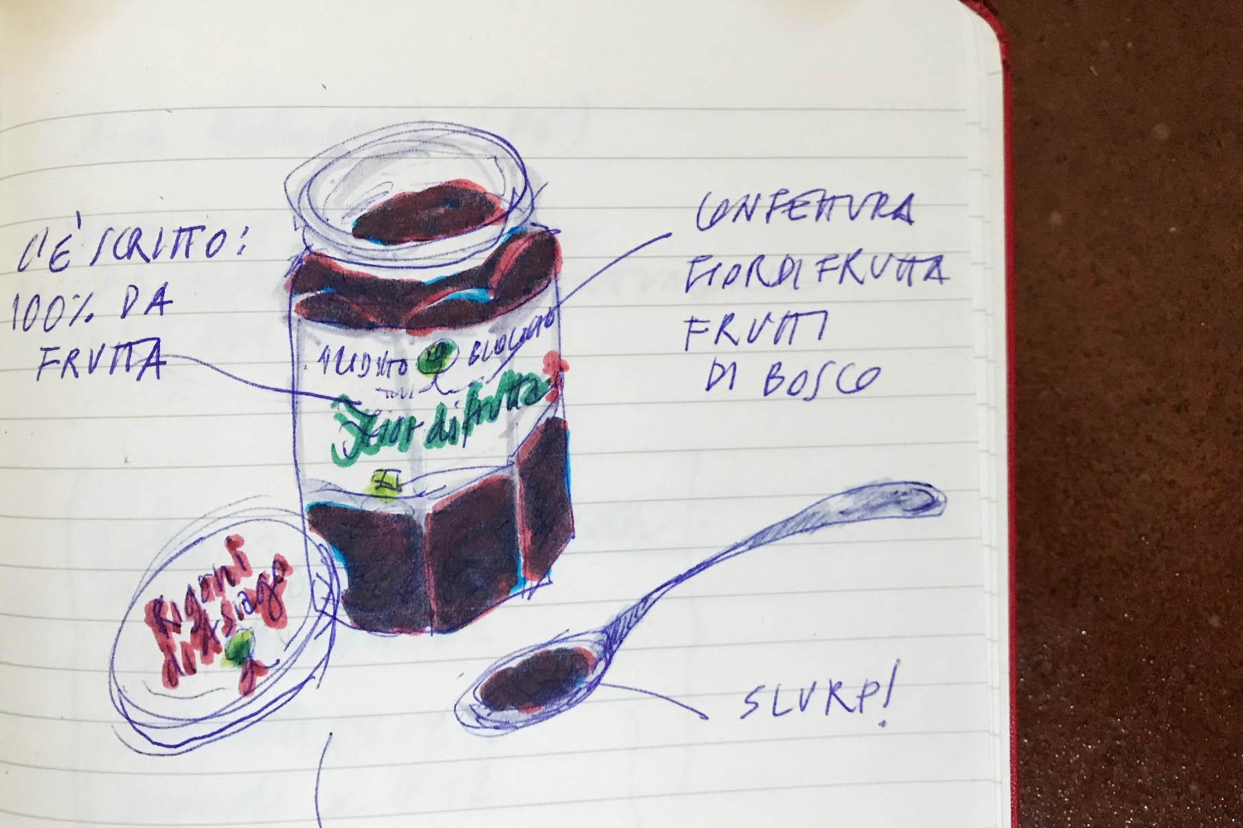 #appuntidisegnati merenda Rigoni vasetto